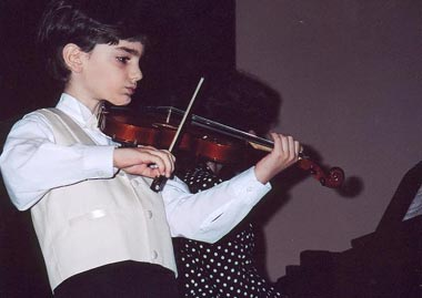A young pupil at the Sayat Nova music school
